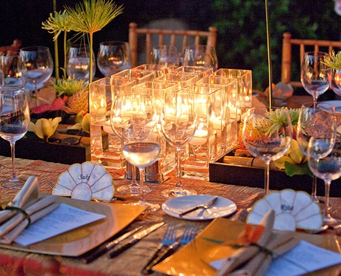 Birthday Dinner Table Setting with Candles
