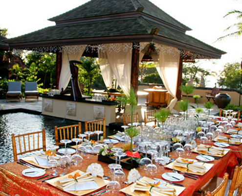Table Setup for Private Dinner with Pagoda
