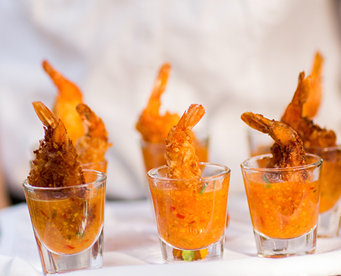 Coconut shrimp in shot glass
