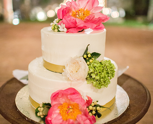 Wedding Cake with peonies