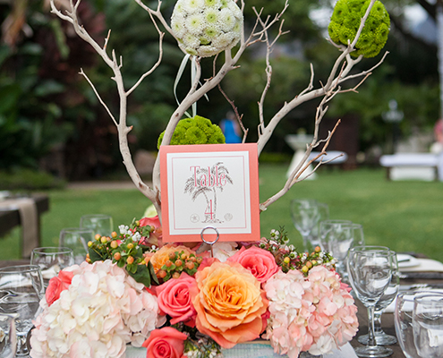 Wedding reception table with unique centerpiece