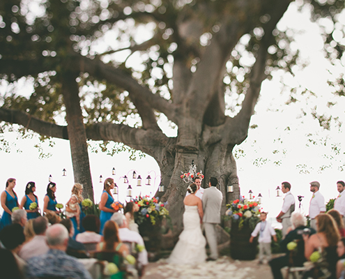 Wedding ceremony under trees
