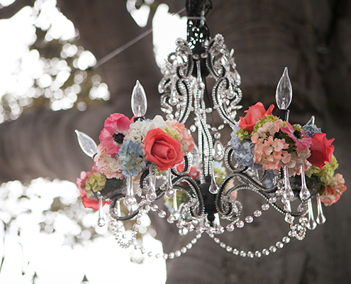 Chandelier with fresh flowers