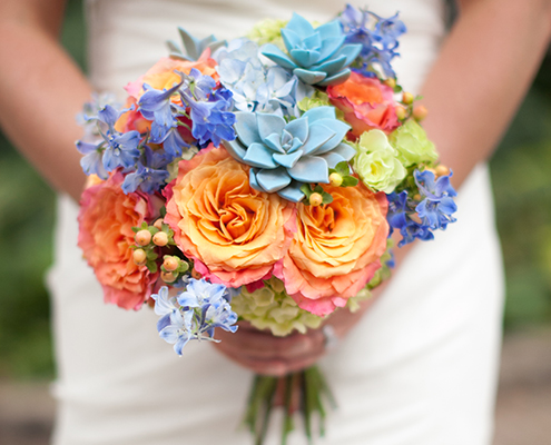 Bridal bouquet with Peonies & Succulents