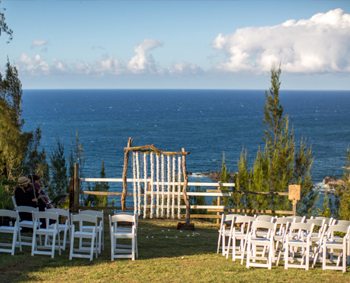 wedding alter overlooking the Maui coastline