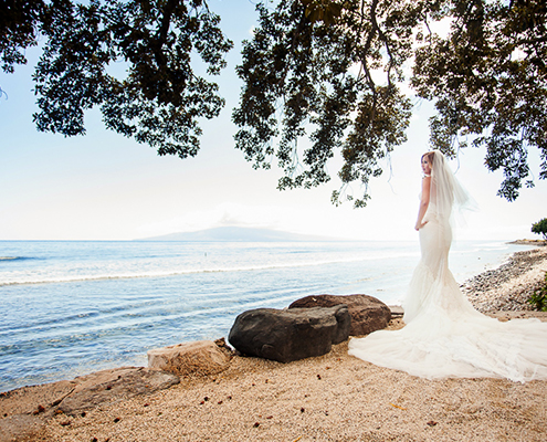 The bride on Maui beach