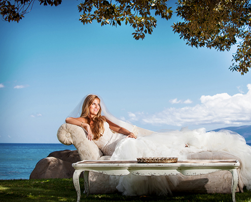 The bride in repose by the ocean