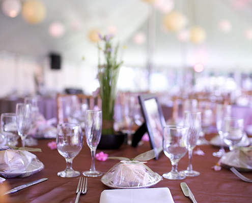 Wedding Reception Table Setting Tent with Purple & Pink