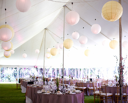 Wedding Reception Tent with Purple & Pink