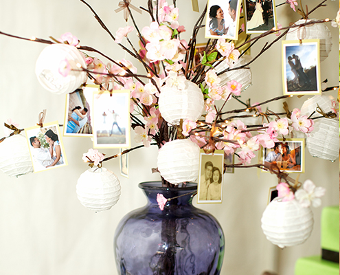 Cherry Blossoms & Photos in Blue Vase