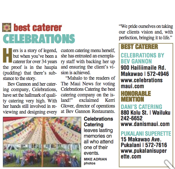 Celebrations Catering Named Best Catering Company 2018 on
